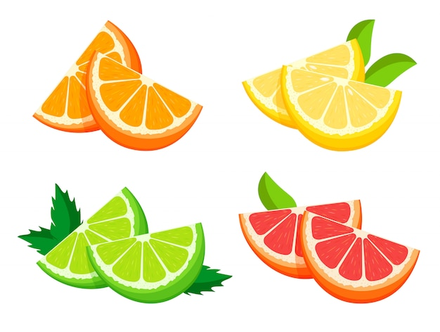 Metà fresca luminosa di arancia, limone, lime e pompelmo isolata