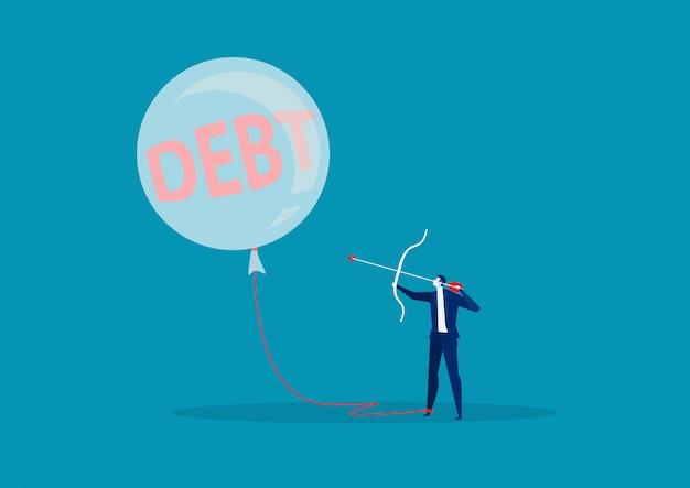 Metafora di debito del pallone di tiro con l'arco di affari di libertà finanziaria.