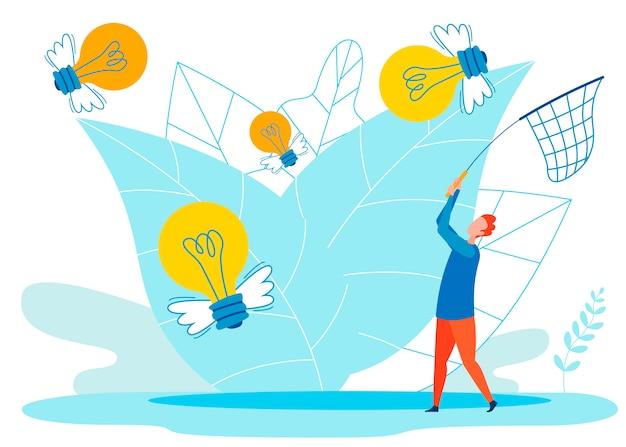 Metafora di idee creative piatte