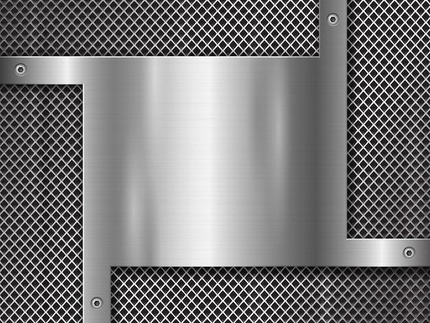 Metallo con punzonatura e piastra in acciaio lucido fissata con viti