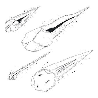 Meteor doodles set di icone di schizzo vettoriale isolato su uno spazio bianco.