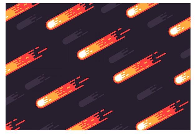 Meteorite sullo sfondo dello spazio scuro.