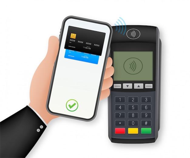 Metodi di pagamento senza contatto smart phone mobile e terminale pos wireless stile realistico. illustrazione