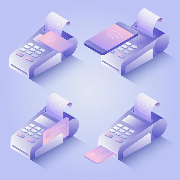 Metodi di pagamento terminali pos, pagamento online. conferma il pagamento con carta di credito, telefono cellulare. concetto di pagamento isometrico nfc in design piatto. illustrazione