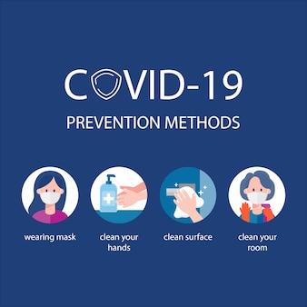 Metodi di prevenzione covid-19. infografica su come prevenire il coronavirus.