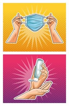 Metodi di prevenzione covid19 icone di pandemie