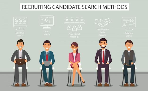 Metodi di ricerca di candidati al reclutamento di banner piatto.