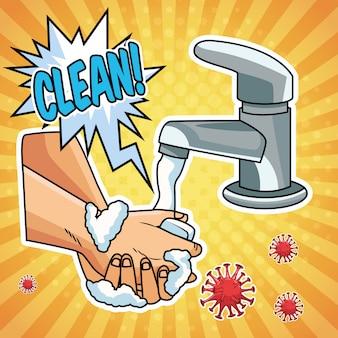 Metodo di prevenzione del lavaggio delle mani covid19 pandemia