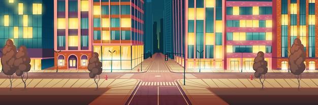 Metropoli di notte illuminata, cartone animato strada vuota