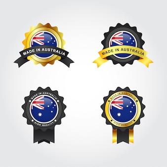 Metta fatto in australia con progettazione del modello dell'illustrazione delle etichette del distintivo dell'emblema
