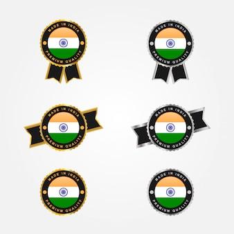Metta fatto in india e la bandiera con progettazione del modello dell'illustrazione delle etichette del distintivo dell'emblema