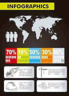Metta gli elementi dell'illustrazione di vettore della costruzione di infographics