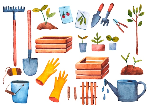 Metta il giardiniere della molla, l'orto, le pale del rastrello, i semi, illustrazione dell'acquerello delle piantine per i bambini su un fondo bianco