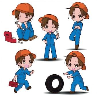 Metta il personaggio dei cartoni animati sveglio del meccanico, concetto di lavoro.