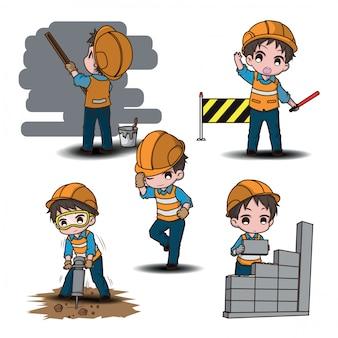 Metta il personaggio dei cartoni animati sveglio del muratore, concetto di lavoro