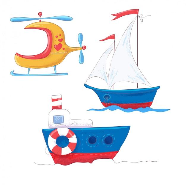 Metta il trasporto sveglio del fumetto per il vapore, il battello a vapore e l'elicottero del clipart dei bambini.