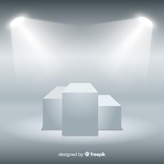 Metta in scena il fondo del podio nella stanza bianca con illuminazione