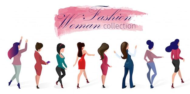 Metta l'illustrazione di vettore della raccolta della donna di modo.