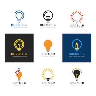 Metta l'illustrazione di vettore di logo della lampadina
