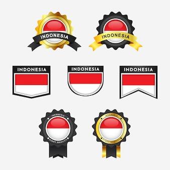 Metta la bandiera dell'indonesia con le etichette del distintivo dell'emblema