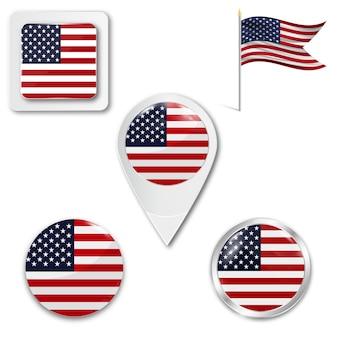 Metta la bandiera nazionale delle icone degli sua