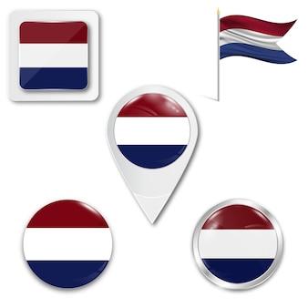 Metta la bandiera nazionale delle icone dei paesi bassi