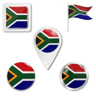 Metta la bandiera nazionale delle icone del sudafrica
