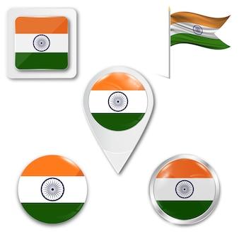 Metta la bandiera nazionale delle icone dell'india