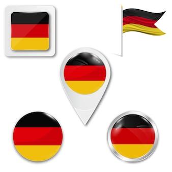 Metta la bandiera nazionale delle icone della germania