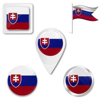 Metta la bandiera nazionale delle icone della slovacchia
