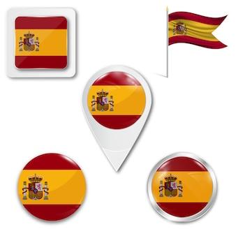 Metta la bandiera nazionale delle icone della spagna