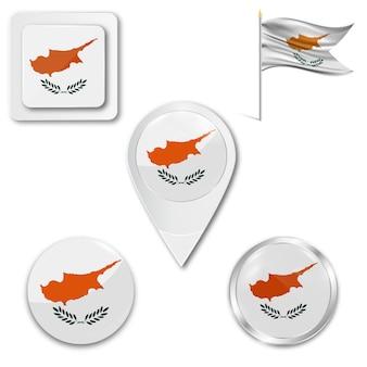 Metta la bandiera nazionale delle icone di cipro