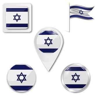 Metta la bandiera nazionale delle icone di israele