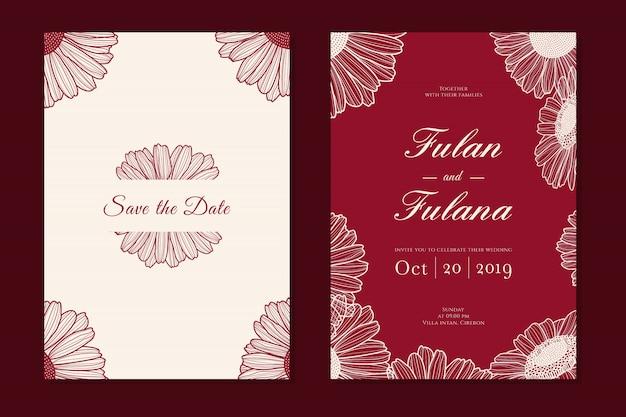 Metta la carta dell'invito di nozze con retro tradizionale d'annata di stile monocromatico floreale del profilo del fiore della margherita di scarabocchio disegnato a mano