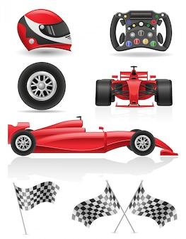 Metta la macchina da corsa, le bandiere e gli elementi vector l'illustrazione