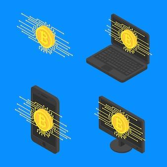 Metta la moneta di criptovaluta del bitcoin di concetto sui dispositivi moderni dello schermo isometrici
