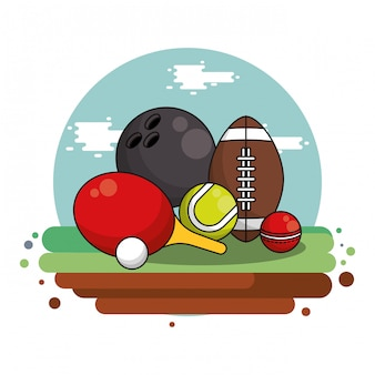 Metta la progettazione dell'illustrazione di vettore dell'attrezzatura sportiva