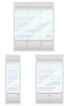 Metta la vetrina dell'illustrazione di vettore dell'attrezzatura del negozio