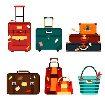 Metta le borse di viaggio sull'illustrazione trasparente del fondo. imballaggio di viaggio di affari di raccolta, maneggia il bagaglio di viaggio. estate. borsa e bagaglio per l'avventura