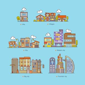 Metta le case e costruisca l'illustrazione piana di vettore di stile di paesaggio urbano