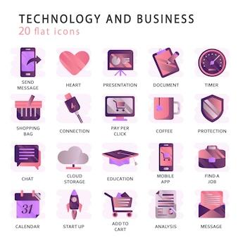 Metta le icone di vettore con gli elementi per i concetti mobili e le applicazioni web