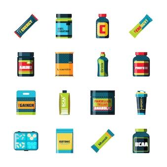 Mette in mostra le icone dell'alimento di nutrizione nello stile piano ha dettagliato l'illustrazione di vettore. alimenti sportivi nutrizione dieta sana e nutrizione sportiva dieta fitness.