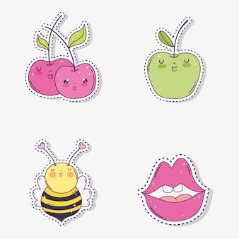 Metti le mele kawaii con l'adesivo di api e bocca
