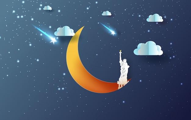 Mezza luna con il concetto di new york usa della statua della libertà.
