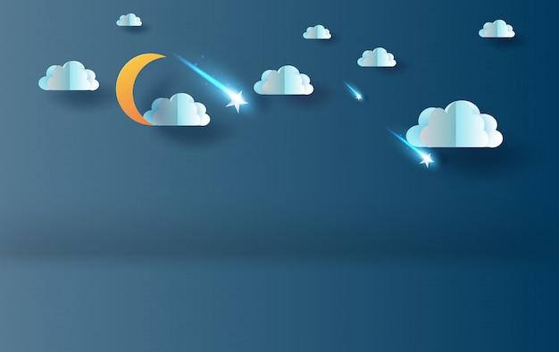 Mezza luna con nuvole e stelle cadenti nella notte del cielo