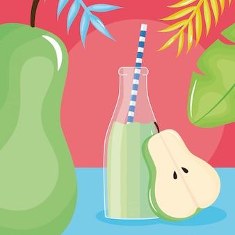 Mezzo succo di pera fresca frutta in bottiglia con paglia in foglie di palme