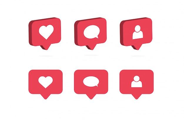 Mi piace, commenta, segui l'icona. notifiche sui social media.