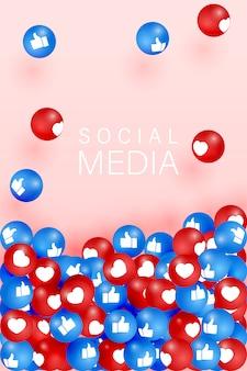 Mi piace e pollice in alto icone che cadono su sfondo rosa. simbolo 3d della rete sociale. icone di contronotifica. elementi di social media. reazioni emoji.
