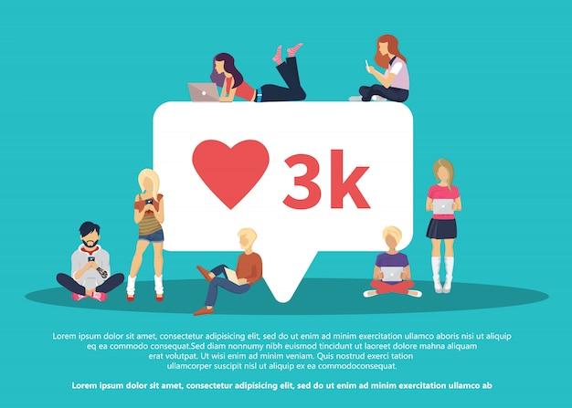 Mi piace la bolla dei social media con il simbolo del cuore rosso
