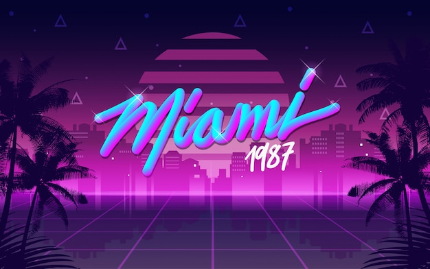 Miami 1987 retro anni '80 lettering e sfondo